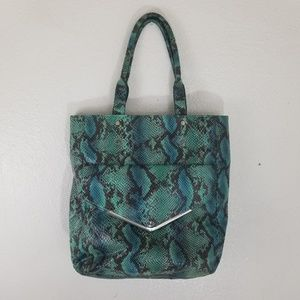 Mossimo green & blue large snake print tote